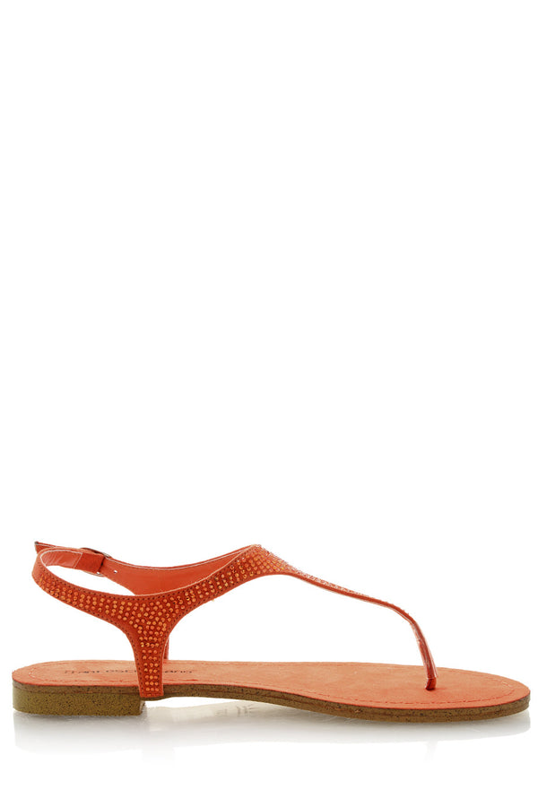 FRANCESCO MILANO ARETHA Orange Crystal Sandals