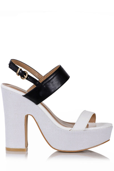 CARINA Black White Heeled Sandals