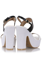 FRANCESCO MILANO CARINA Black White Heeled Sandals