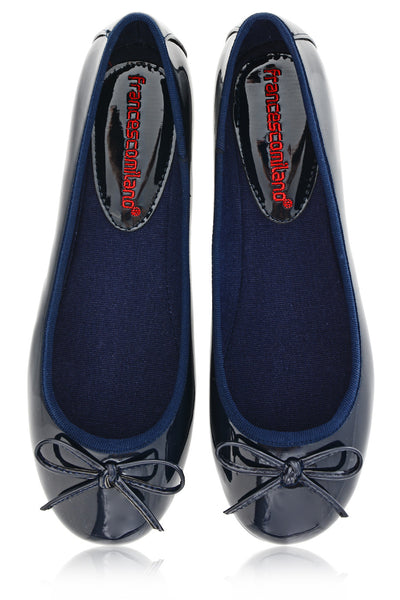 ERMA Blue Pattent Ballerinas