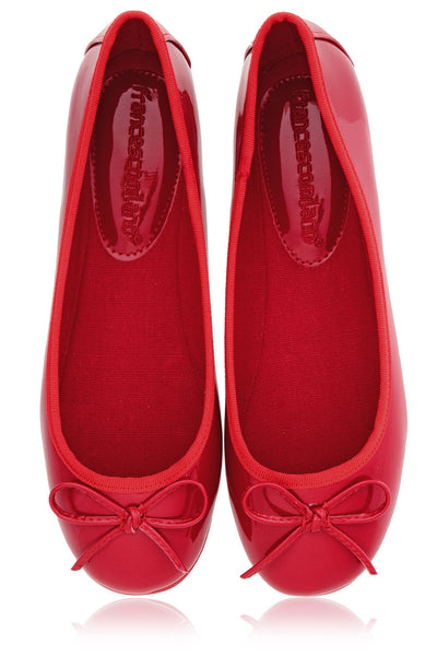 ERMA Red Pattent Ballerinas