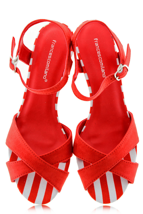 FRANCESCO MILANO KLARA Red Striped Suede Sandals