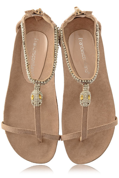 SERPENT Beige Crystal Sandals