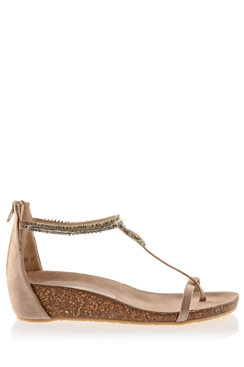FRANCESCO MILANO SERPENT Beige Crystal Sandals