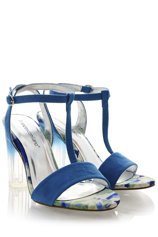 FRANCESCO MILANO WELIE Blue Floral Sandals
