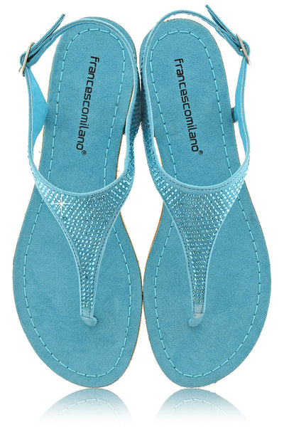 FRANCESCO MILANO ARETHA Turquoise Crystal Leather Women Sandals