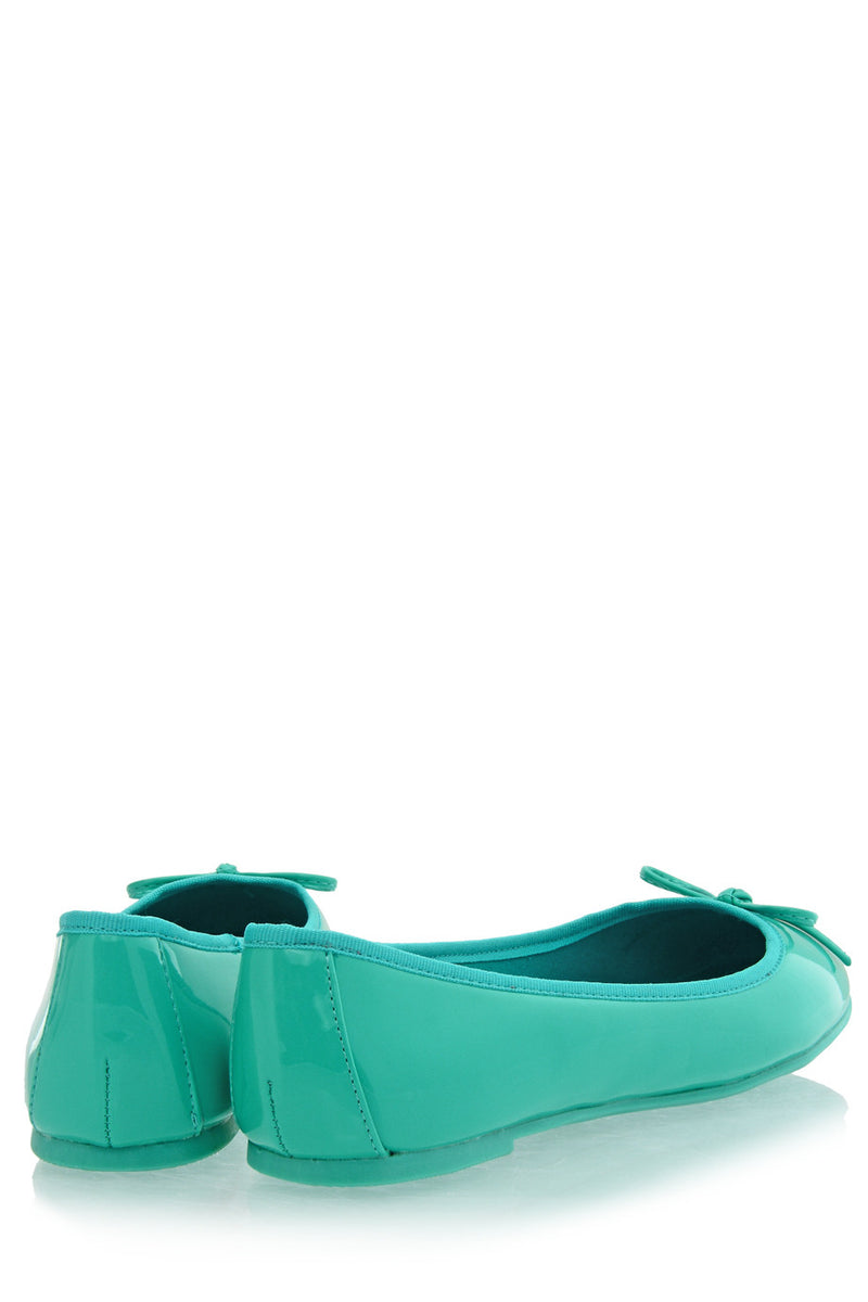 FRANCESCO MILANO - Turquoise Patent Ballerinas Flat Shoes Flats