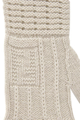 FENDI FF Extrafine Ivory Wool Women Gloves