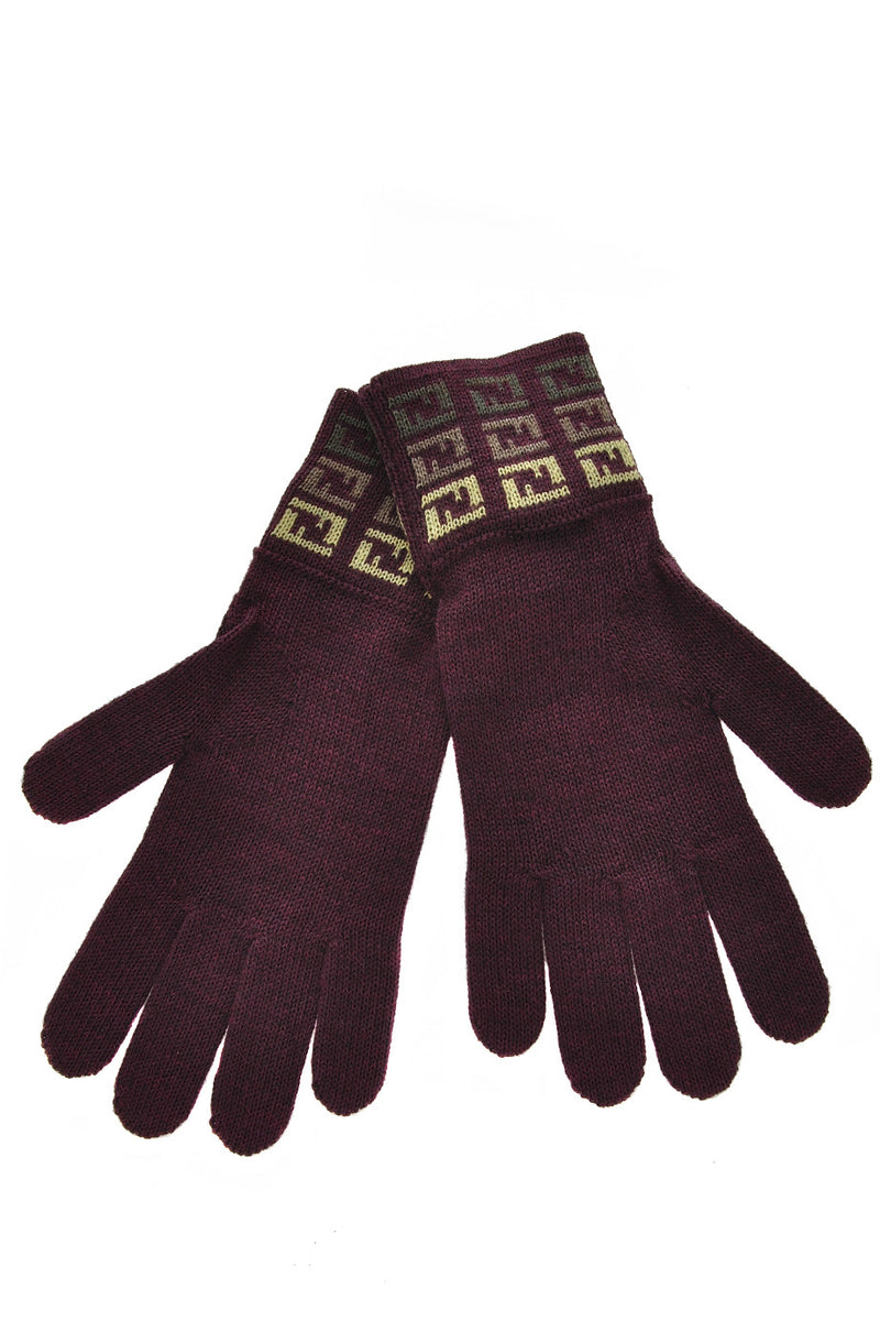 FENDI FF Bordeaux Lime Wool Women Gloves