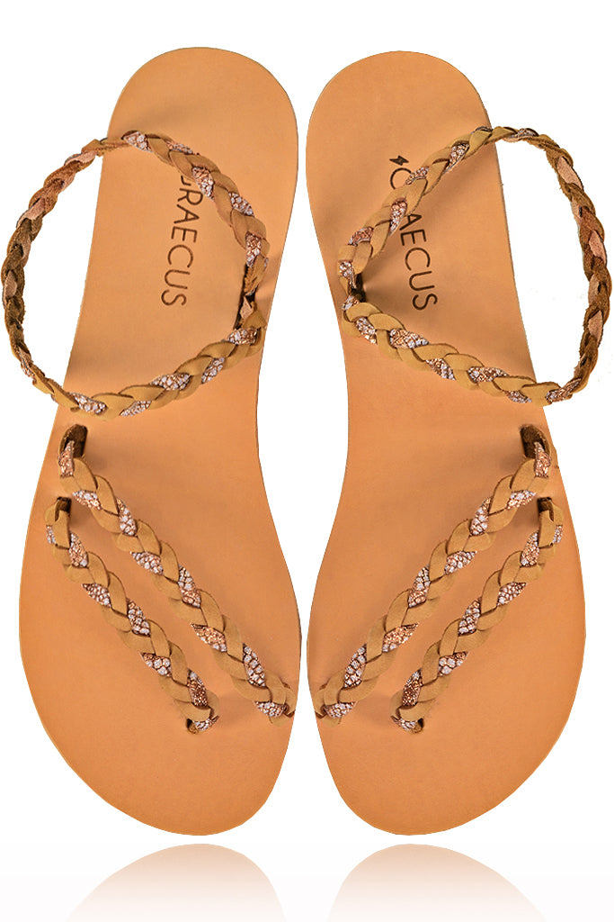 GRAECUS GAEA Beige Leather Sandals