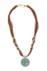 GIO BERNARDES EVIL EYE Long Leather Necklace