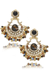 GIO BERNARDES - SHADOW Bronze Crystal Clip Earrings Jewelry