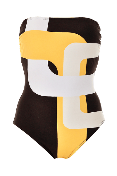GOTTEX GEOMETRY Brown Yellow One Piece Swimsuit
