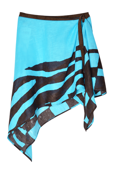 LINEN Turquoise Brown Beach Skirt