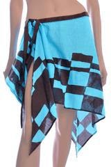 GOTTEX LINEN Turquoise Brown Beach Skirt