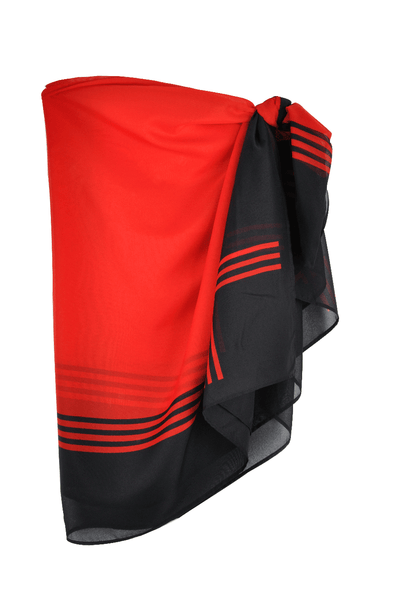 RED & BLACK Striped Sarong