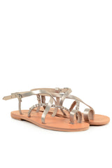 GRAECUS HEBE Platinum Leather Sandals Ancient Greek Sandals