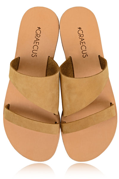 GRAECUS TYCHE Beige Suede Leather Sandals