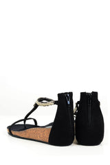 SERPENT Black Sandals with Crystals