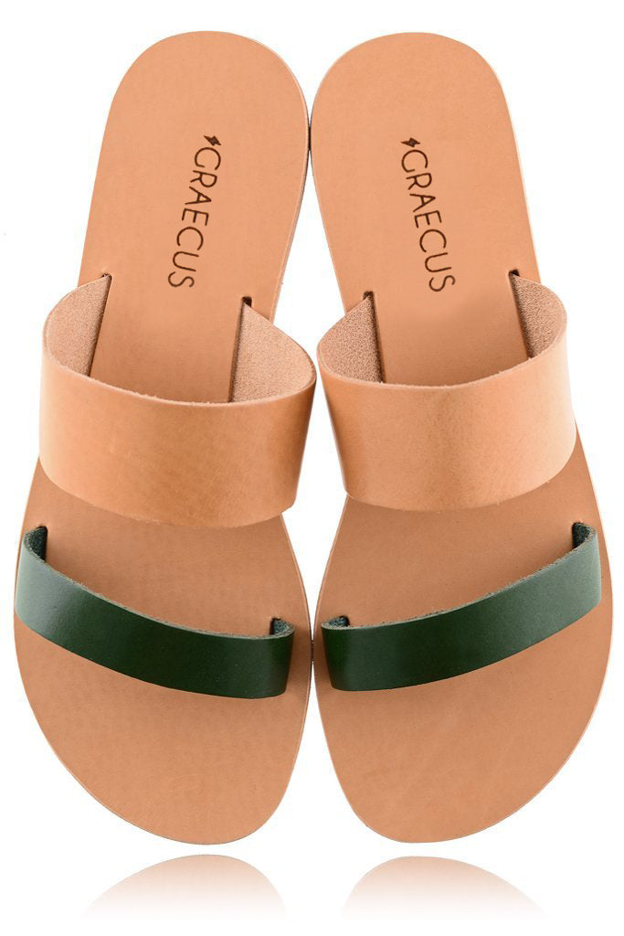 HELENA Beige Green Leather Sandals | GRAECUS Greek Handmade Leather Sandals