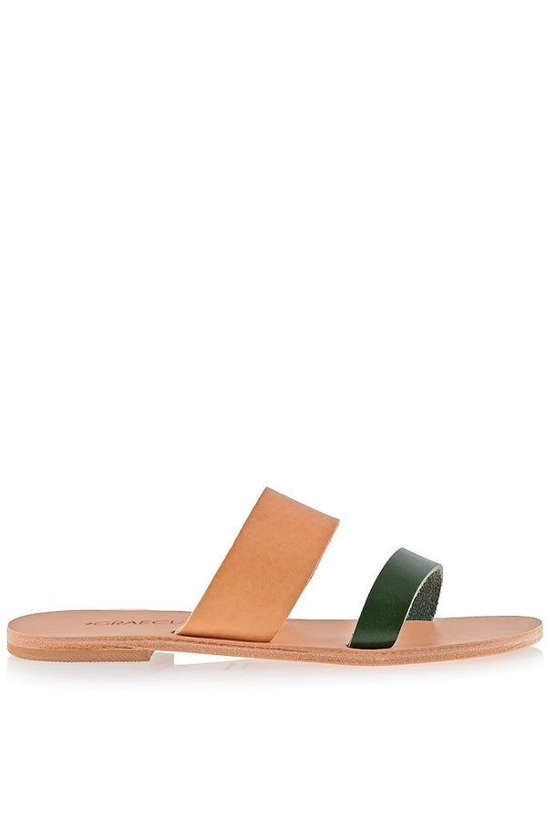 Helena Beige Green Leather Sandals