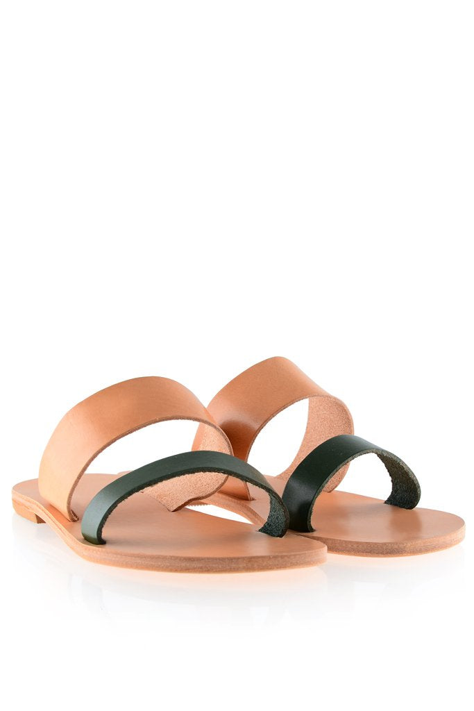 ELIA SANDALS | HELENA Beige Green Leather Sandals