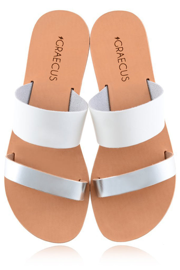 Helena White Silver Leather Sandals | GRAECUS Greek Handmade Leather Sandals