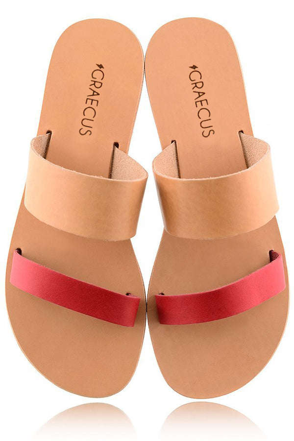 Helena Beige Coral Leather Sandals | GRAECUS Greek Handmade Leather Sandals