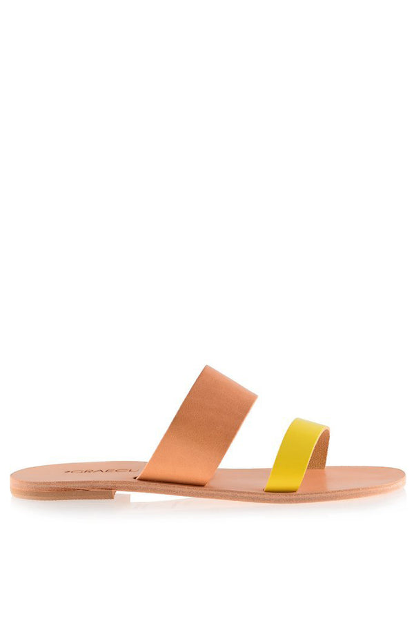 Helena Beige Yellow Leather Sandals | GRAECUS Greek Handmade Leather Sandals