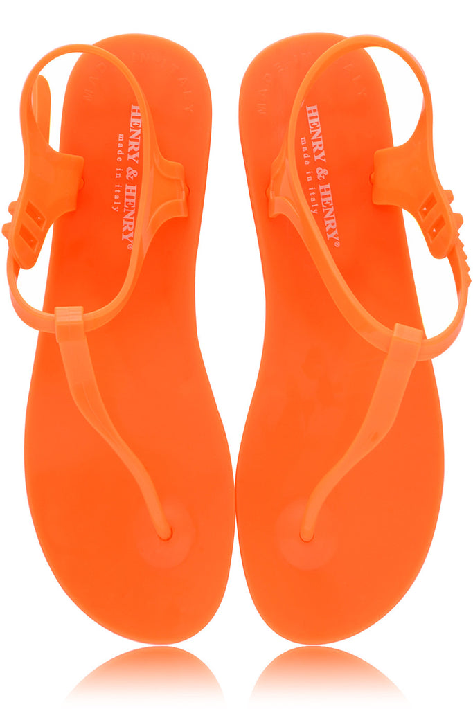 HENRY & HENRY ATHENA Orange Fluo Rubber Sandals