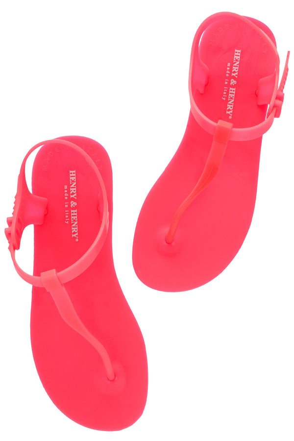 HENRY & HENRY ATHENA Fuchsia Fluo Rubber Sandals