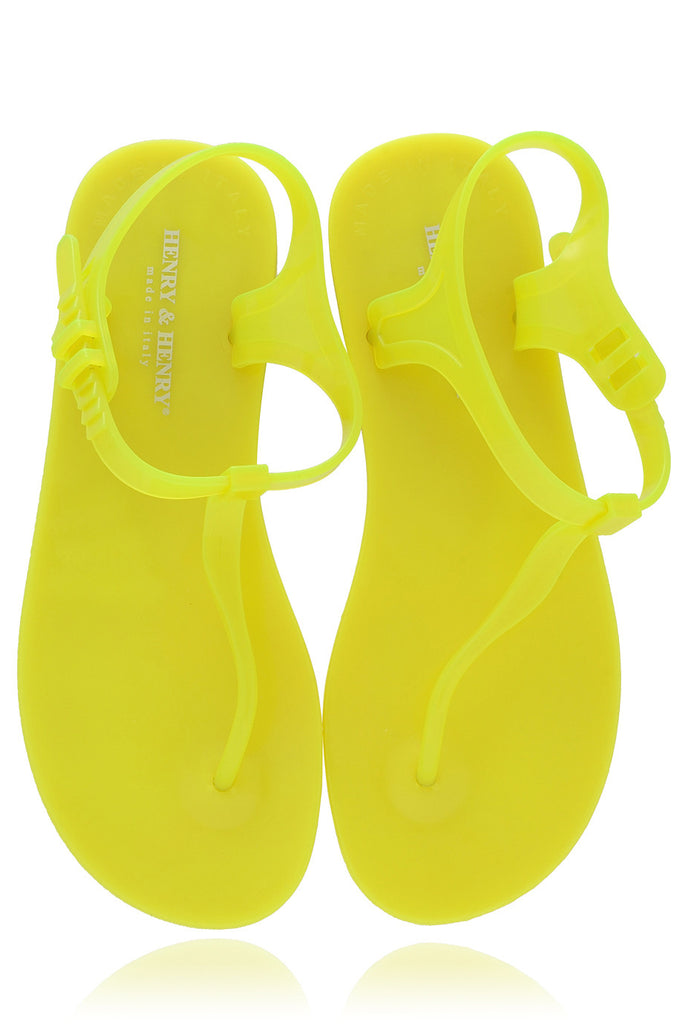 HENRY & HENRY ATHENA Yellow Fluo Rubber Sandals