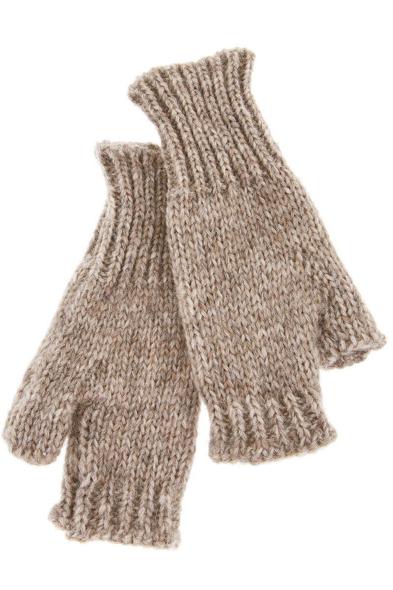 INVERNI ALPINE Baby Alpaca Beige Fingerless Wool Women Gloves