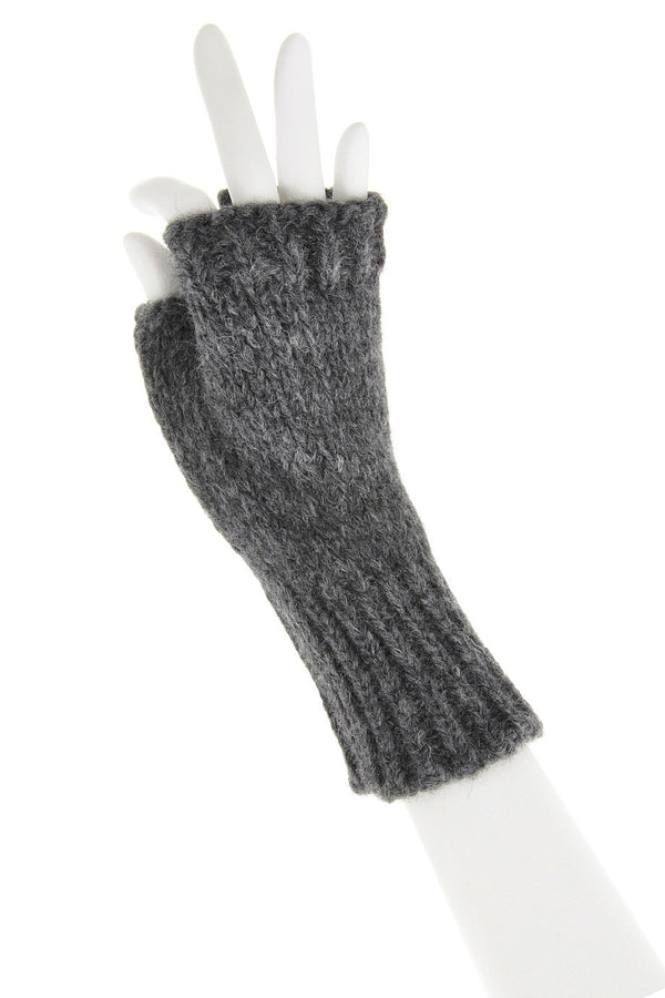 INVERNI ALPINE Baby Alpaca Grey Fingerless Women Wool Gloves