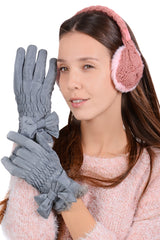 LALU - ADORIA Grey Bow Waterproof Women Gloves - Women Accessories