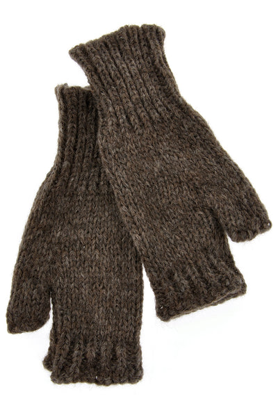 INVERNI ALPINE Baby Alpaca Brown Fingerless Women Gloves
