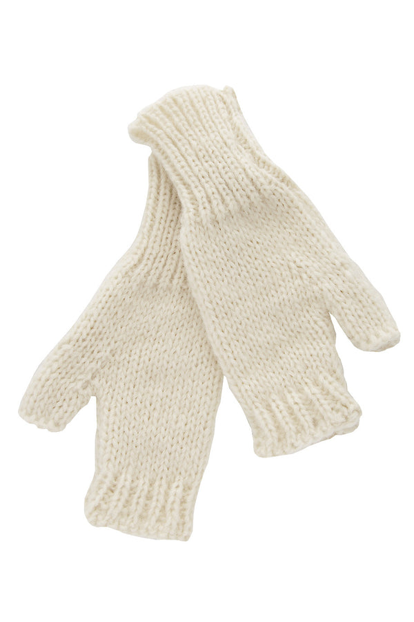 INVERNI ALPINE Baby Alpaca Cream Fingerless Women Wool Gloves