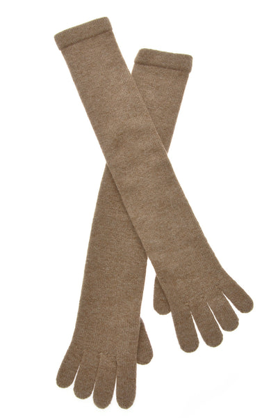 CASHMERE Long Dark Beige Wool Women Gloves