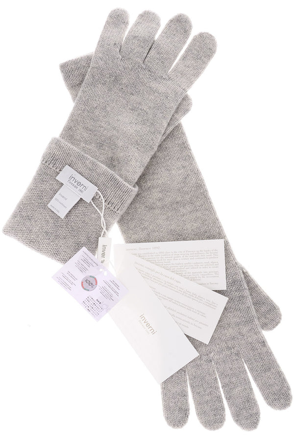 INVERNI CHALET Light Grey Long Cashmere Wool Woman Gloves