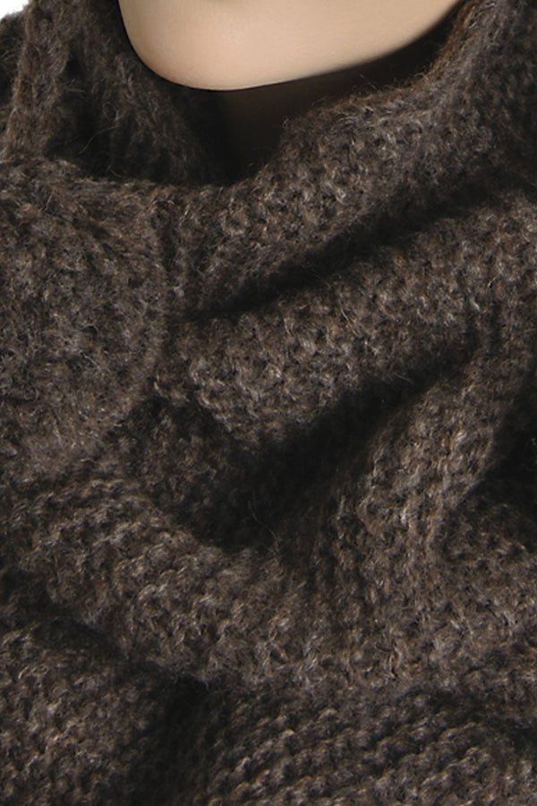 INVERNI EDELWEISS Baby Alpaca Brown Neck Wrap Wool Scarf