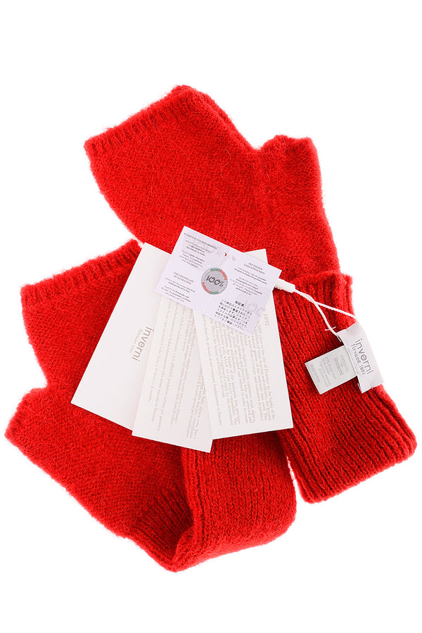 INVERNI EVEREST Red Fingerless Wool Women Gloves