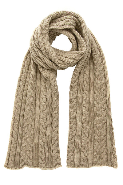 INVERNI HEIDI Beige Cable Knit Cashmere Wool Woman Scarf