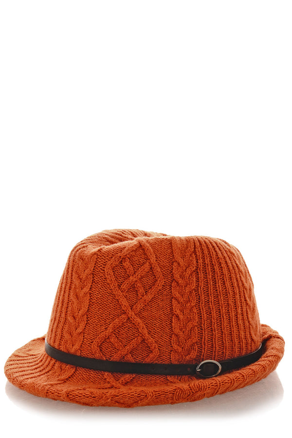 INVERNI HEIDI Orange Knitted Fedora Hat