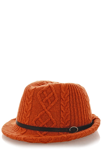 HEIDI Orange Knitted Fedora Hat