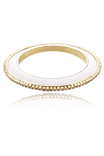 ISHARYA CAMI White Resin Crystal Bangle Bracelet