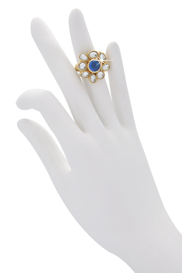 ISHARYA CRAZY Blue Flower Crystal Ring