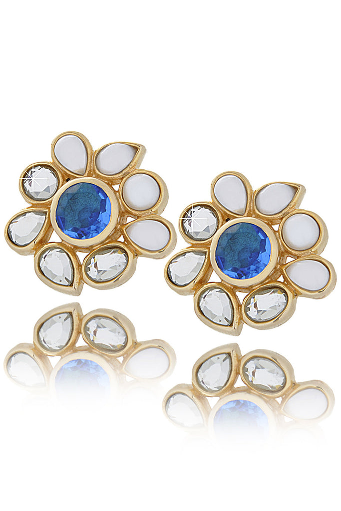 ISHARYA CRAZY Blue Flower Earrings