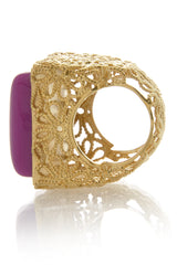 ISHARYA DAISY Filigree Fuchsia Resin Stone Ring