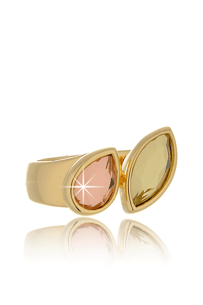 ISHARYA DOUBLE MIRROR Pink Yellow Crystal Ring
