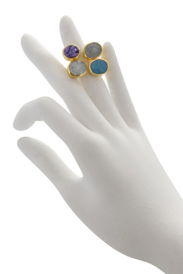 ISHARYA DRUZY Amethyst Agate Cocktail Ring